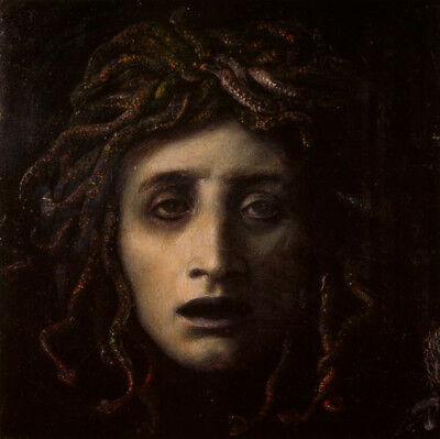 "Medusa by Arnold Bocklin, Handmade Oil Painting Reproduction on Canvas 30"" x 30"""