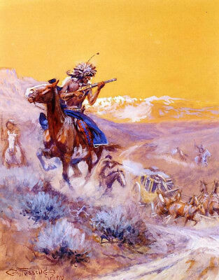 "Indian Attack  by Charles Marion Russell, Oil Painting Reproduction, 24"" x 32"""