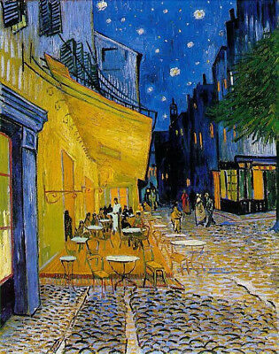 """Cafe Terrace At Night by Vincent Van Gogh, Oil Painting Reproduction, 22"""" x 30"""""""