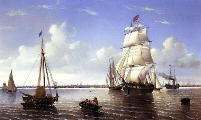 "Boston Harbor by William Bradford, Handmade Oil Painting Reproduction, 38"" x 22"""