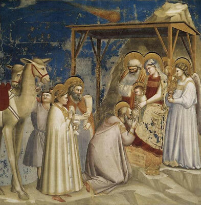 """Adoration Of The Magi by Giotto Di Bondone, Oil Painting Reproduction, 30"""" x 30"""""""