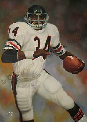 Walter Payton Chicago Bears - Original Poster NFL Oil Painting on Canvas Artwork