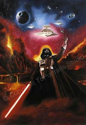 Star Wars, Darth Vader Death Star - Original Hand Painted Poster Oil Painting XL