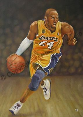 Kobe Bryant, Los Angeles Lakers - Original Hand Painted Oil Painting on Canvas