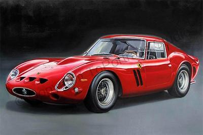 Ferrari 250 GTO 1962 - Hand Painted Oil Painting on Canvas - Car Artwork Realism