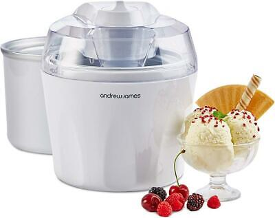 New Andrew James Ice Cream Maker 1.5 Litre With Additional / Spare Freezer Bowl