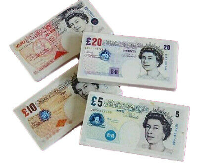 4 x MONEY POUND NOTES ERASERS RUBBERS TOY BOYS GIRLS CHRISTMAS STOCKING FILLERS
