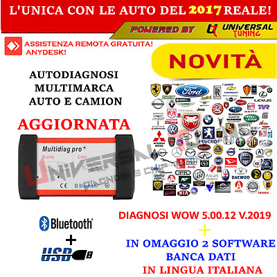 Auto Diagnosi Multimarca Bt Professionale Auto Camion V.2016 + 2019 + Banca Dati