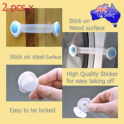 Adhesive Child Kids Baby Cute Safety Lock For Door Drawers Cupboard Cabinet x 2