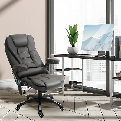 HOMCOM Heated Massage Office Chair High Back Executive Swivel Desk Chair Brown