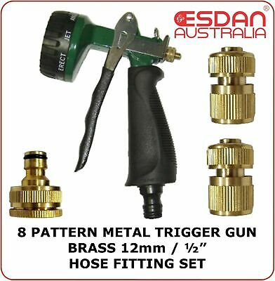 Garden lawn hose Watering Metal Trigger Spray Gun Brass connectors tap adaptor