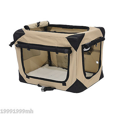 "Pawhut 32"" Folding Soft Pet Crate Dog Cage Carrier Kennel Puppy Cat House Khaki"