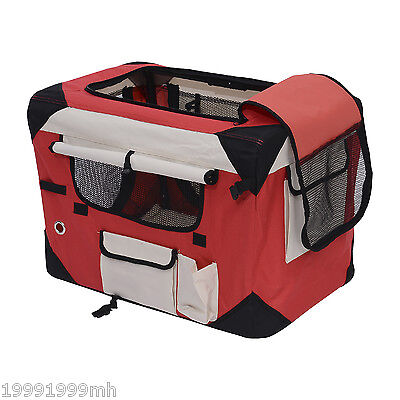 """PawHut 40"""" Folding Soft Dog Crate Cage Kennel Pet Cat Carrier House Red"""
