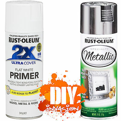 Rust-Oleum Reflective Metallic Silver Bright Leafing Spray Paint & White Primer
