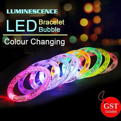 1x LED Bracelet Bubble Colour Changing Bangle Party Blinking Glow in the dark