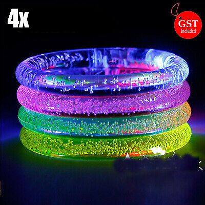 4X LED Bracelet Bubble Colour Changing Bangle Party Blinking Glow in the dark