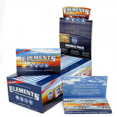 25 Pks Elements Single Wide Rolling Paper 1.0 Ultra Thin Rice Full Box Of 2500