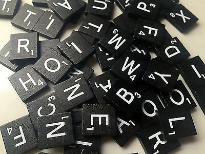 100 x Black & White Wooden Scrabble Tiles Letters - for magnets, scrapbooking