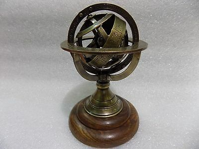 "5"" Nautical Brass Armillary Sphere World Globe Rosewood Base Table Decor Gift"