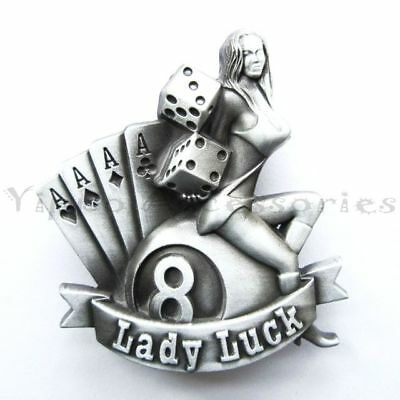 Lady Luck Casino Gamble Poker Metal Fashion Belt Buckle