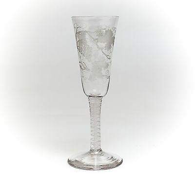 English Clear Wine Glass 18th Century Hand Etched Air Twist Stem & Grape Design