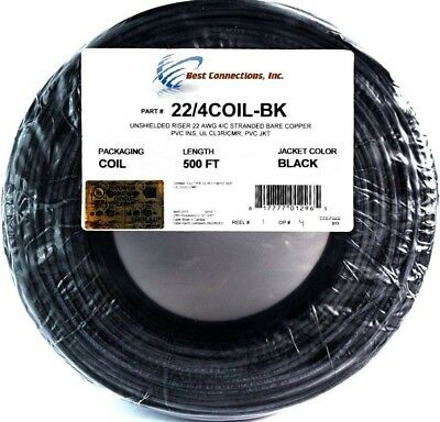 500' Feet Black 22 Gauge 4 Conductor Stranded Copper Alarm Wire Security Cable