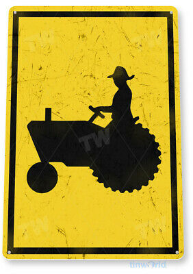 """TIN SIGN """"Tractor Crossing"""" Metal Decor Art Kitchen Cottage Store Farm A713"""
