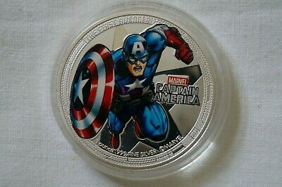 Captain America - Avengers - Silver Plated Coin in Case.