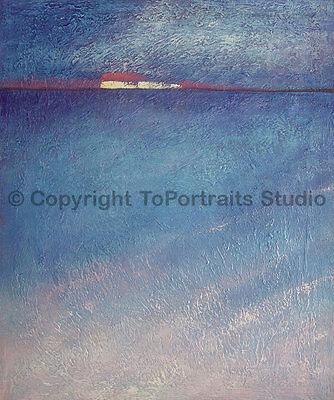 """Sea View, Original Abstract Handmade Seascape Oil Painting on Canvas, 30"""" x 36"""""""