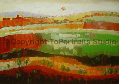 "Meadows, Original Abstract Handmade Landscape Oil Painting on Canvas, 36"" x 26"""
