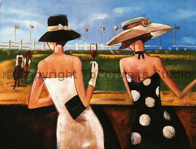 """Ladies At The Races, Original Modern Handmade Oil Painting on Canvas, 34"""" x 26"""""""