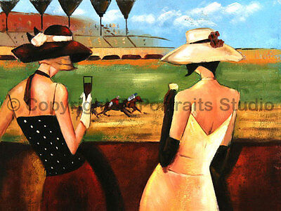 """Ladies At The Races, Original Hand Painted Oil Painting on Canvas Art, 34"""" x 26"""""""