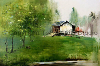 """English Cottage House, Original Handmade Oil Painting on Canvas, 36"""" x 24"""""""