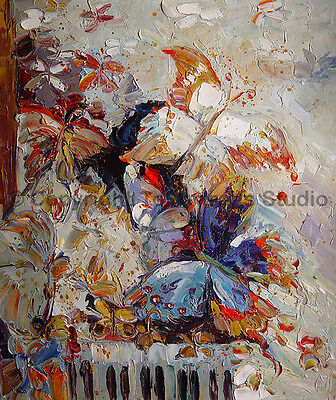"""Butterflies Abstract Animal Art, Original Oil Painting on Canvas, 30"""" x 36"""""""