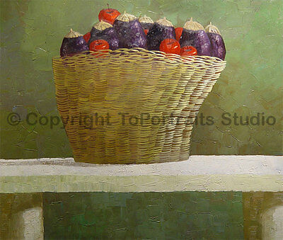 """Bowl Of Vegetables, Original Abstract Handmade Oil Painting on Canvas, 36"""" x 30"""""""
