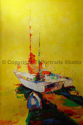 """Boats At Sea, Original Abstract Handmade Oil Painting on Canvas Art, 24"""" x 36"""""""