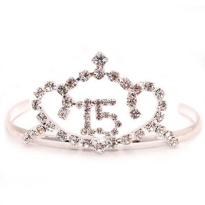 Sweet 15 Quinceanera Silver Pt Heart Clear Crystal Tiara Crown Prom Gift Lot