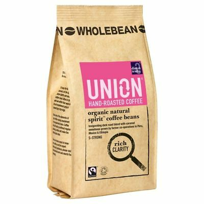Union Hand Roasted Organic Fairtrade Natural Spirit Wholebean Coffee (227g) • AUD 20.99