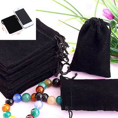 10X Black Velvet Square Jewellery Packaging Pouches Gift Bags 7x9cm