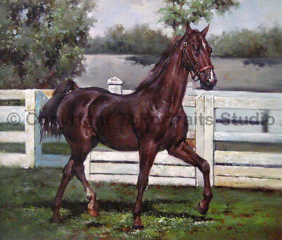 """Horse Before The Race, Original Handmade Oil Painting on Canvas Art, 36"""" x 30"""""""