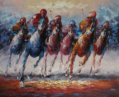 """At The Races, Original Horse Animal Handmade Oil Painting on Canvas, 36"""" x 30"""""""