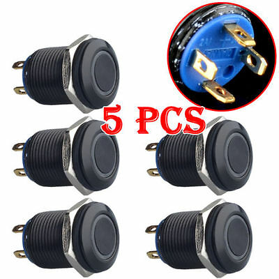 5x 12mm Momentary Angel Eye 3V Blue LED Light Stainless Steel Switch Push Button