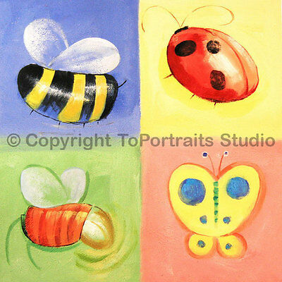 """Four Insects, Original Handmade Oil Painting on Canvas, Kids Art, 30"""" x 30"""""""