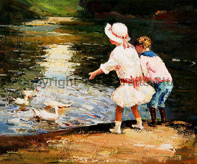 "Children With Ducks, Original Handmade Oil Painting on Canvas Art, 36"" x 30"""