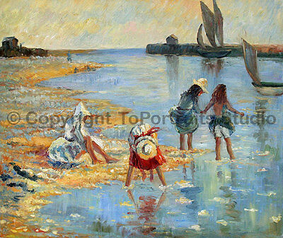 "Children Playing At The Beach, Original Hand Painted Canvas Painting , 36"" x 30"""