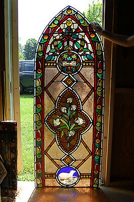 "+ Nice Vintage Antique Stained Glass Window + ""Lamb & Lily"" + + chalice co."