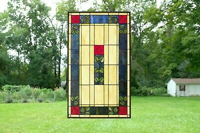 """20"""" x 34"""" Large Tiffany Style stained glass window panel Rose Flower!"""