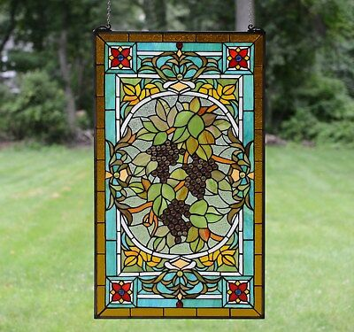"""20"""" x 34"""" Large Handcrafted stained glass window panel Grape W/ Vine"""