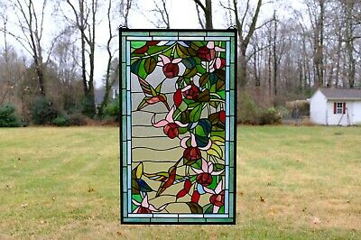 "20"" x 34"" Large Tiffany Style stained glass window panel Hummingbirds & Flower"