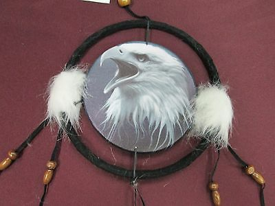 "6 1/2"" Eagle Head Dream Catcher With Beads,Fur & Feathers Wall/Car Decoration"
